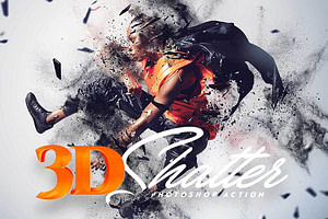 3D Shatter Photoshop Action